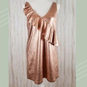 {Zara} Rose Gold Metallic Mini Dress